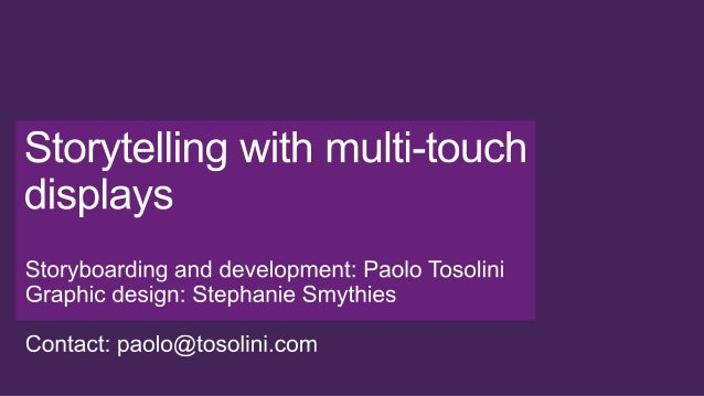 Storytelling with multi-touch devices: Paolo Tosolini's portfolio