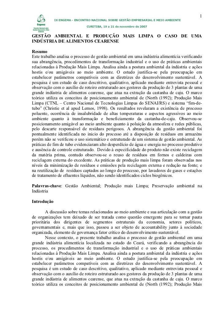 1             IX ENGEMA - ENCONTRO NACIONAL SOBRE GESTÃO EMPRESARIAL E MEIO AMBIENTE                              CURITIBA...