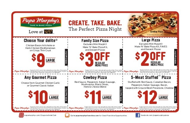 photograph about Papa Murphy's Coupon Printable named Printable discount coupons for papa murphys pizza - Normal harley
