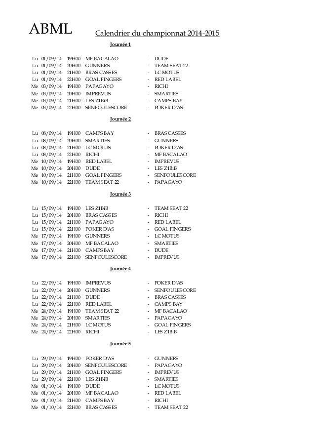 ABML Calendrier du championnat 2014-2015 Lu 01/09/14 19H00 MF BACALAO - DUDE Lu 01/09/14 20H00 GUNNERS - TEAM SEAT 22 Lu 0...