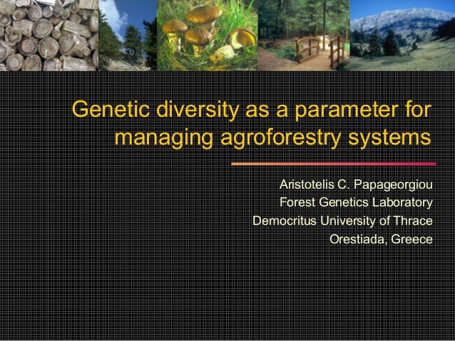 Genetic diversity as a parameter for   managing agroforestry systems                     Aristotelis C. Papageorgiou      ...
