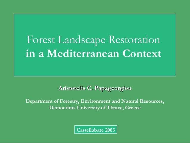 Forest Landscape Restoration in a Mediterranean Context