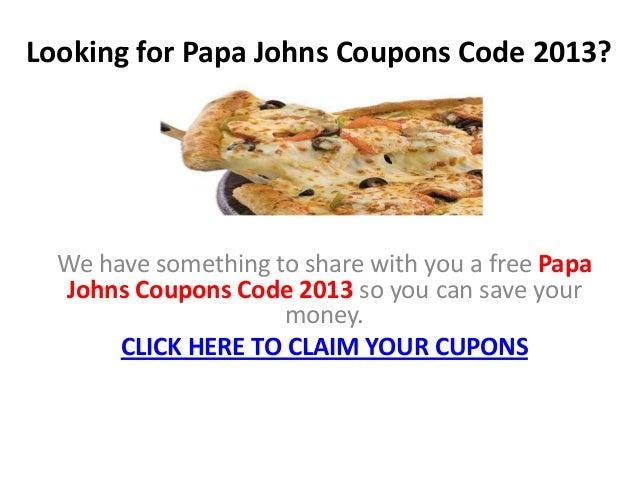 Papa john coupon codes