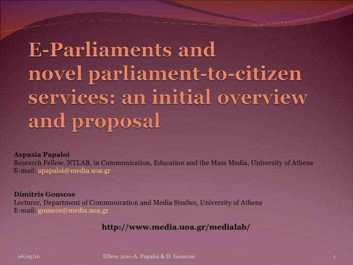 Aspasia Papaloi Research Fellow, NTLAB, in Communication, Education and the Mass Media, University of Athens E-mail:  [ema...