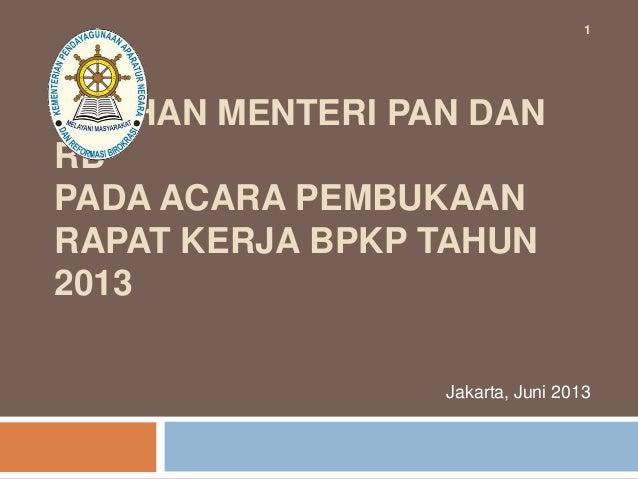 Paparan Menpan & RB: RUU Sistem Pengawasan Intern Pemerintah (SPIP)