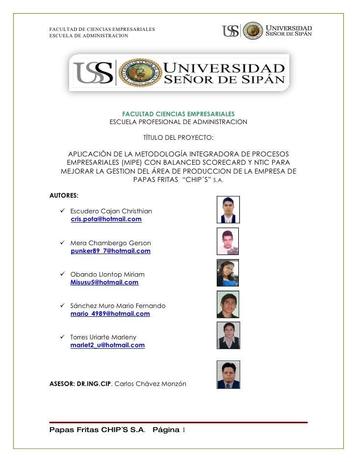 FACULTAD DE CIENCIAS EMPRESARIALES ESCUELA DE ADMINISTRACION                           FACULTAD CIENCIAS EMPRESARIALES    ...