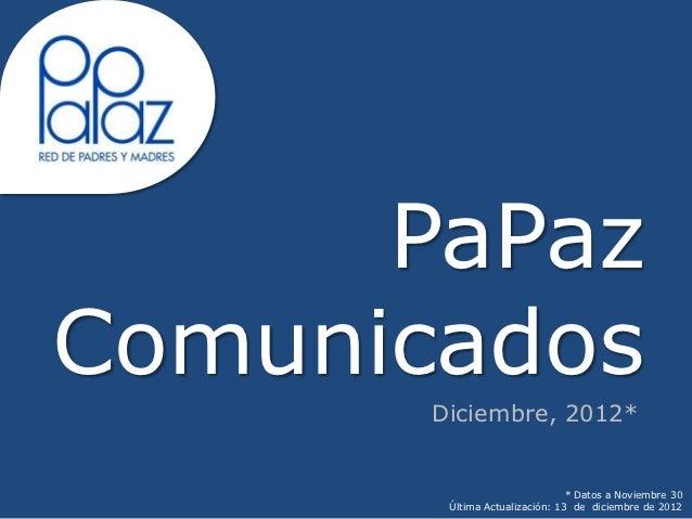 PaPazComunicados       Diciembre, 2012*                                * Datos a Noviembre 30        Última Actualización:...