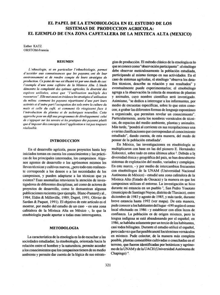 EL PAPEL DE LA ETNOBIOLOGIA EN EL ESTUDIO DE LOS                 SISTEMAS DE PRODUCCION AGRICOLA:   EL EJEMPLO DE UNA ZONA...