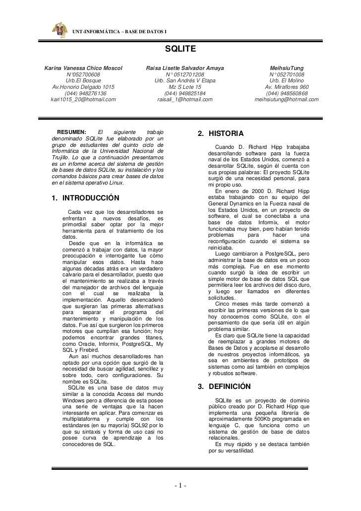 UNT-INFORMÁ TICA – BASE DE DATOS I                                                    SQLITEKarina Vanessa Chico Moscol   ...