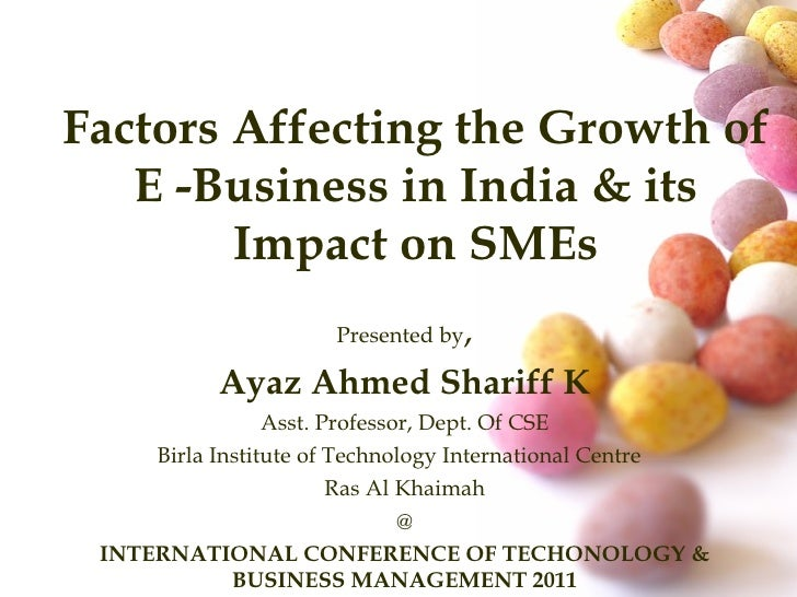 Factors affecting growth of E Business in India