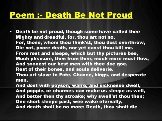 Death not to be proud summary
