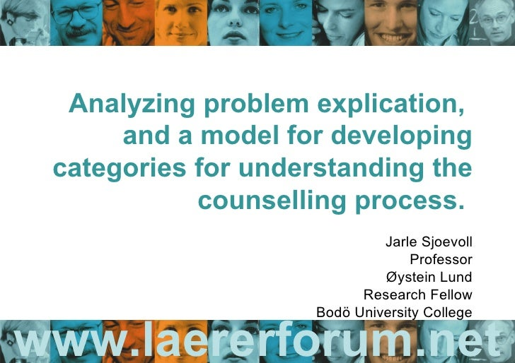 www.laererforum.net Analyzing problem explication,  and a model for developing categories for understanding the counsellin...