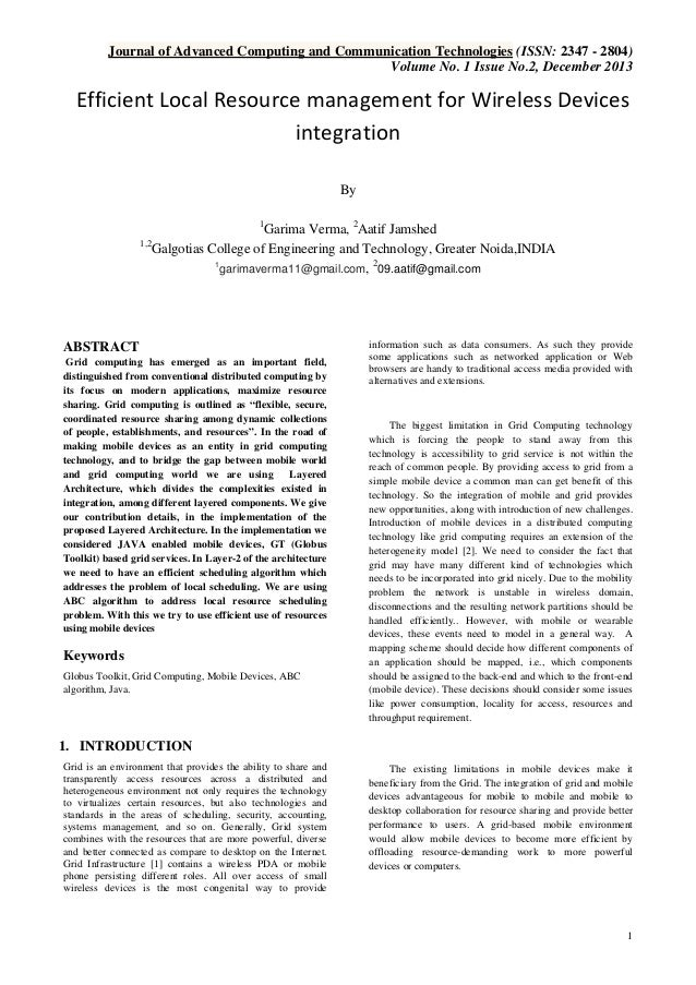 Efficient Local Resource management for Wireless Devices integration