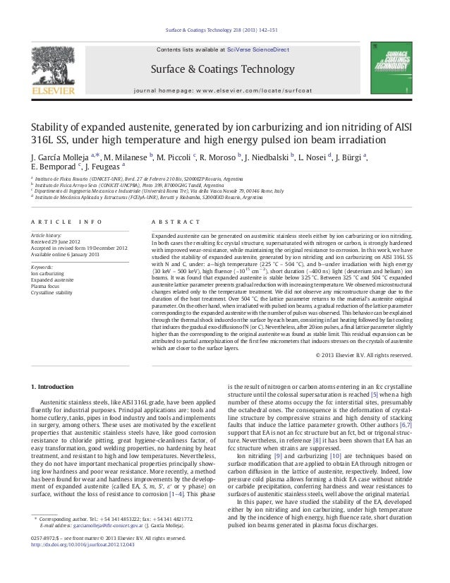 Stability of expanded austenite, generated by ion carburizing and ion nitriding of AISI 316L SS, under high temperature an...