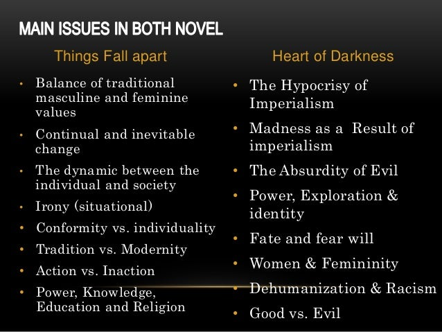a comparison of the natives in the heart of darkness and things fall apart Clashing cultures in things fall apart and heart of darkness a culture defines what it's people perceive about evil, the place it gives to women, and.
