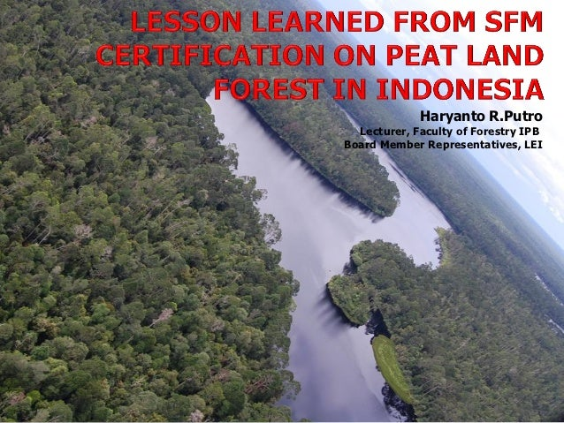 Haryanto R.Putro  Lecturer, Faculty of Forestry IPBBoard Member Representatives, LEI