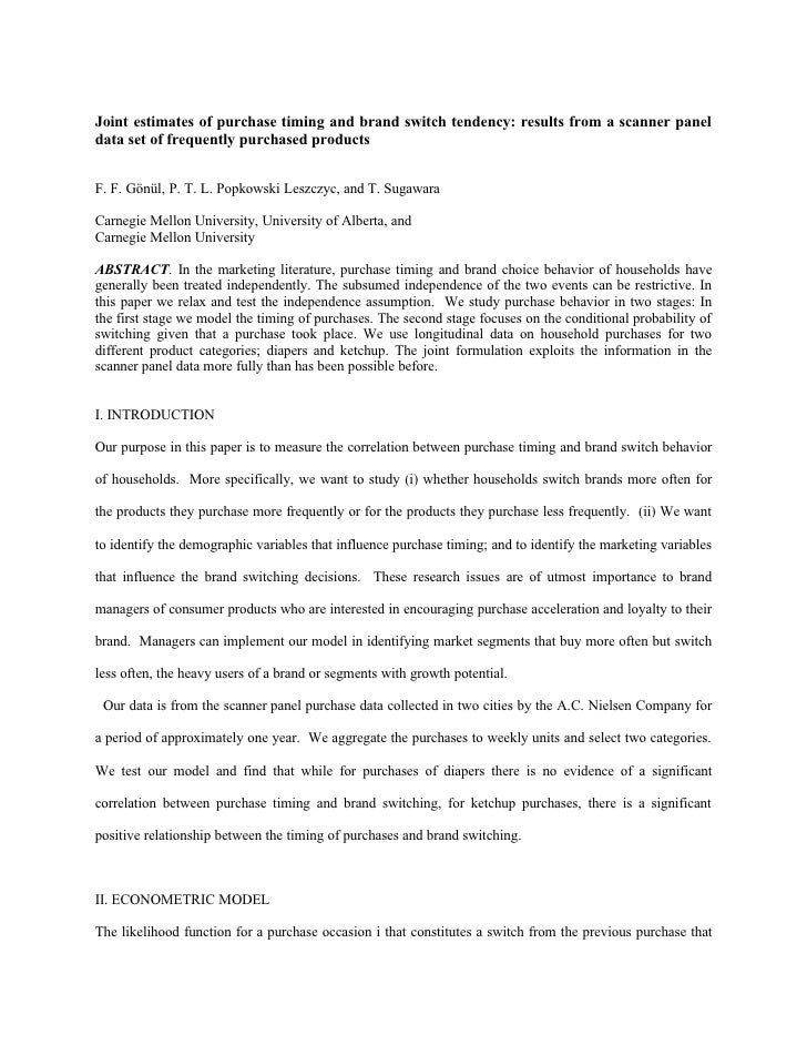 Joint estimates of purchase timing and brand switch tendency: results from a scanner panel data set of frequently purchase...