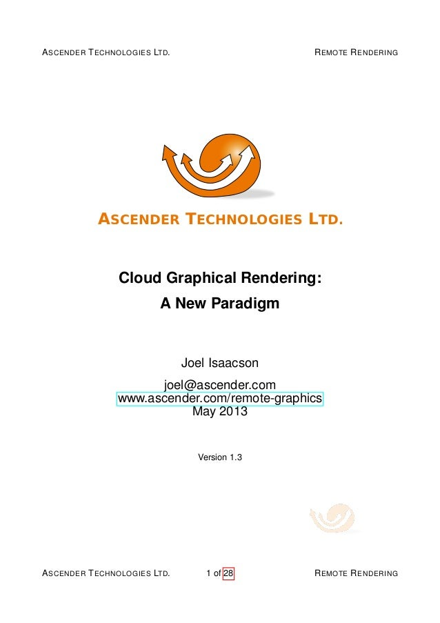 Cloud Graphical Rendering:  A New Paradigm