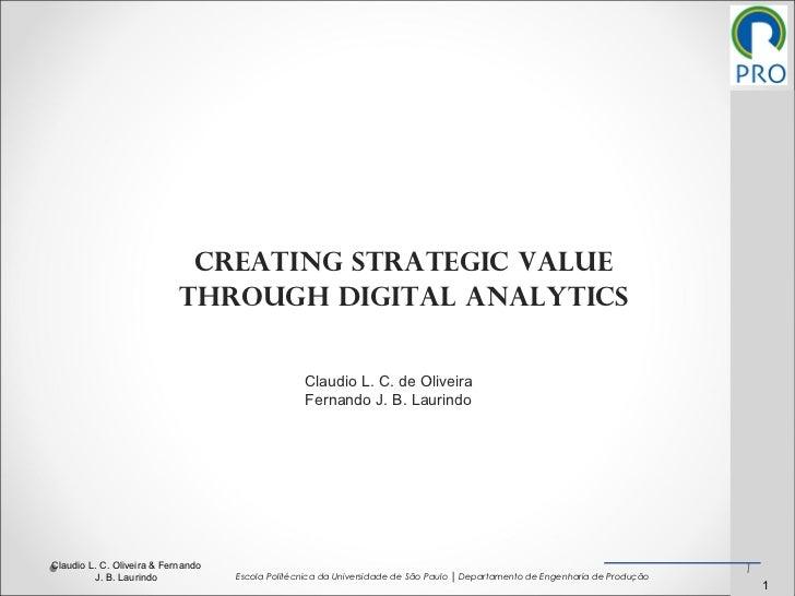 CREATING STRATEGIC VALUE THROUGH DIGITAL ANALYTICS