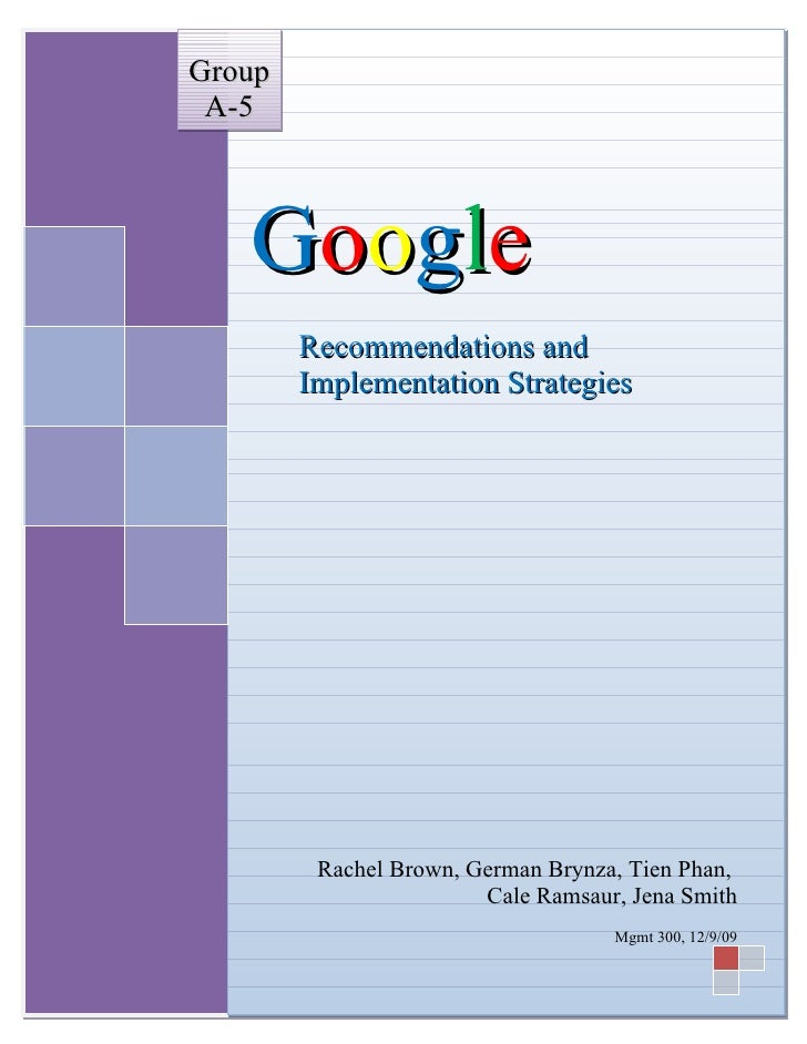 Google Recommendations and Implementations Strategies