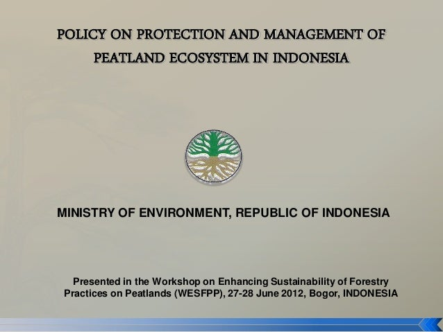 POLICY ON PROTECTION AND MANAGEMENT OF     PEATLAND ECOSYSTEM IN INDONESIAMINISTRY OF ENVIRONMENT, REPUBLIC OF INDONESIA  ...