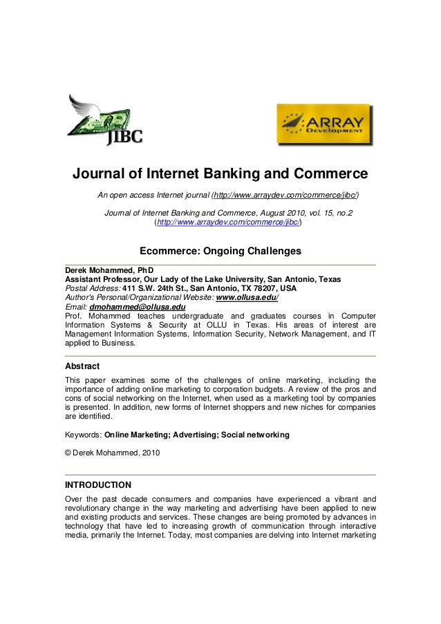Journal of Internet Banking and Commerce         An open access Internet journal (http://www.arraydev.com/commerce/jibc/) ...