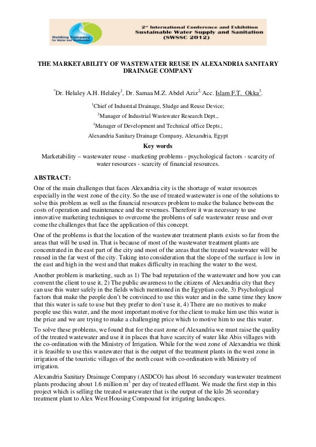 Paper 5   the marketability of wastewater reuse in alexandria