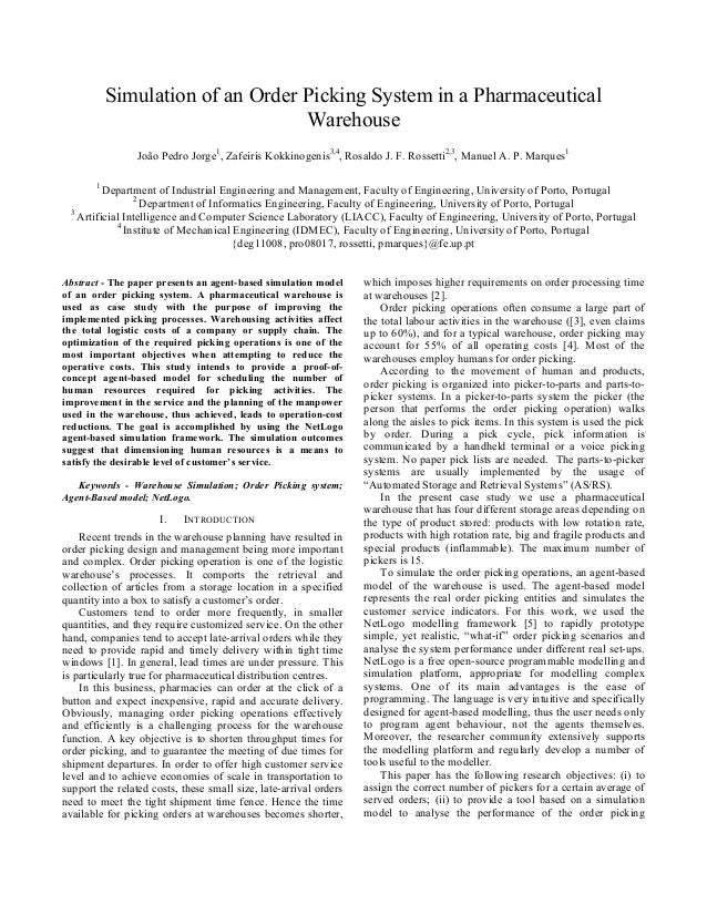 Paper 50100   simulation of an  order picking system in a pharmaceutical warehouse - camera ready