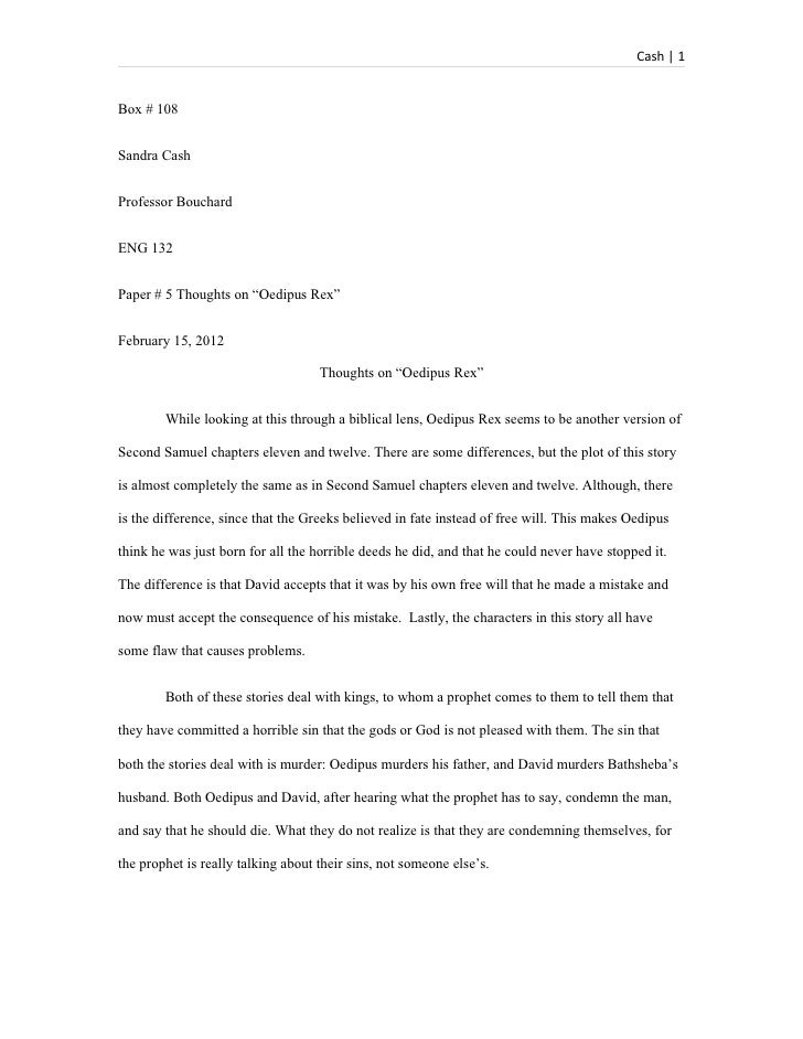 Paper # 5 thoughts on oedipus rex