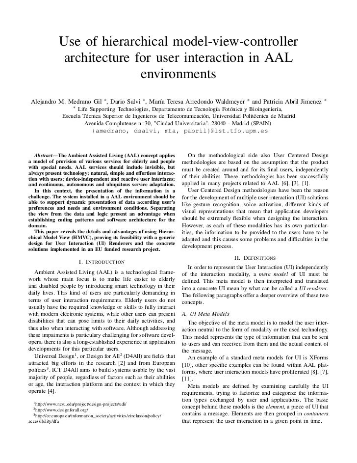 Use of hierarchical model-view-controller                architecture for user interaction in AAL                         ...