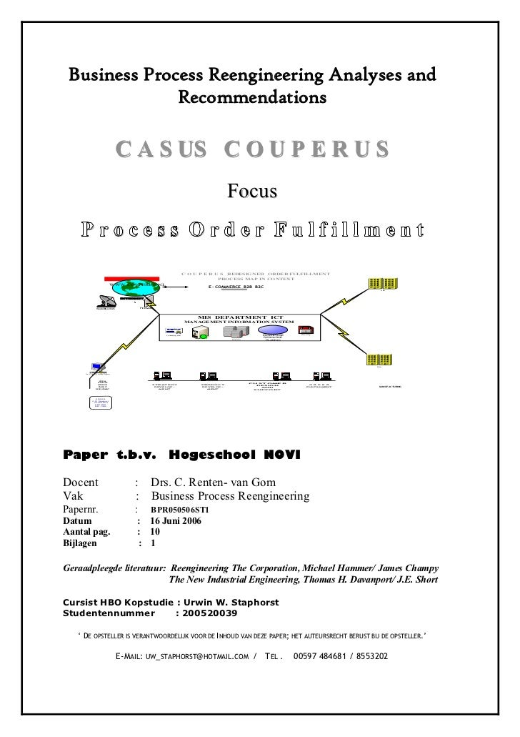 Business Process Reengineering Analyses and               Recommendations                                 C A S US C O U P...