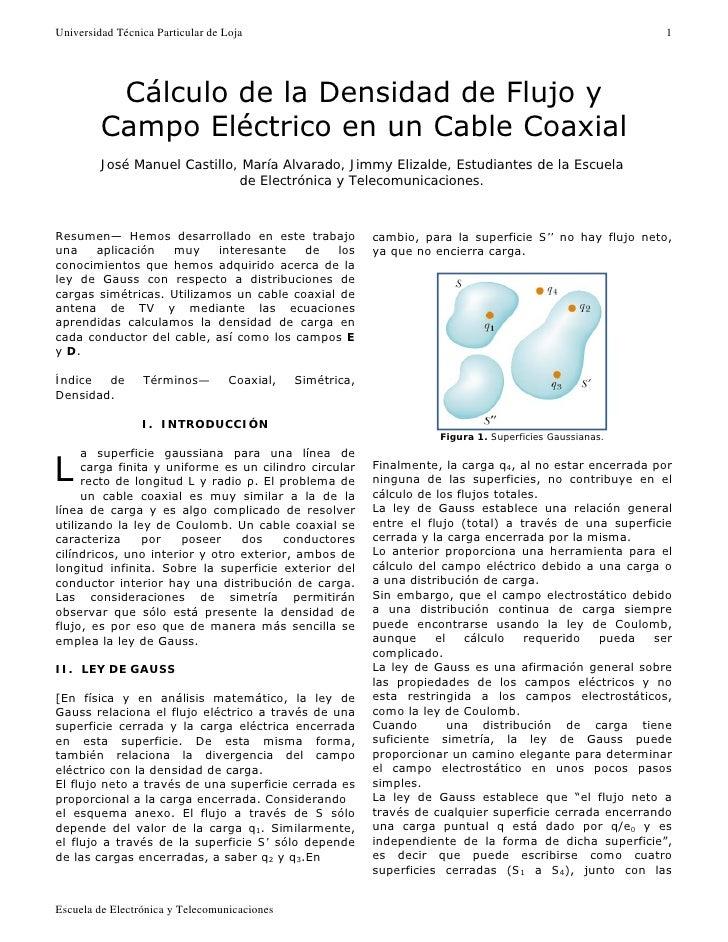 Cálculo y simulación de la densidad de flujo eléctrico de un cable coaxial