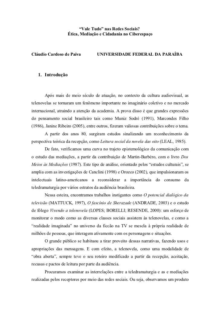 """""""Vale Tudo"""" nas Redes Sociais?                     Ética, Mediação e Cidadania no CiberespaçoCláudio Cardoso de Paiva     ..."""