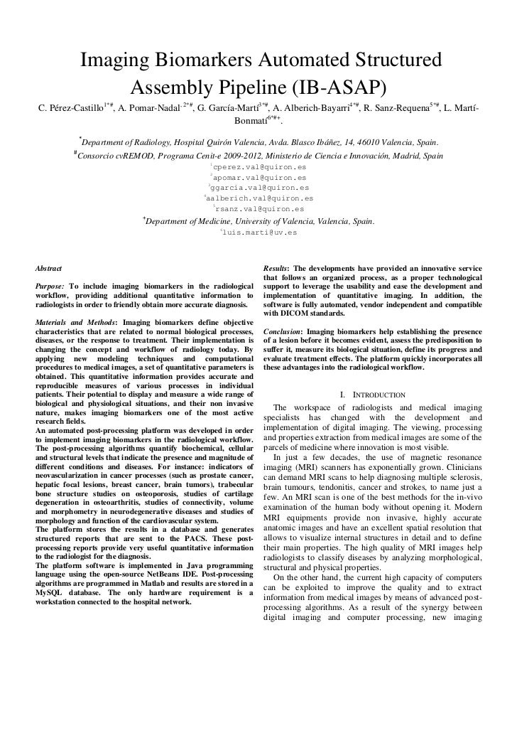 Paper Carlos Pérez - Imaging Biomarkers Automated Structured