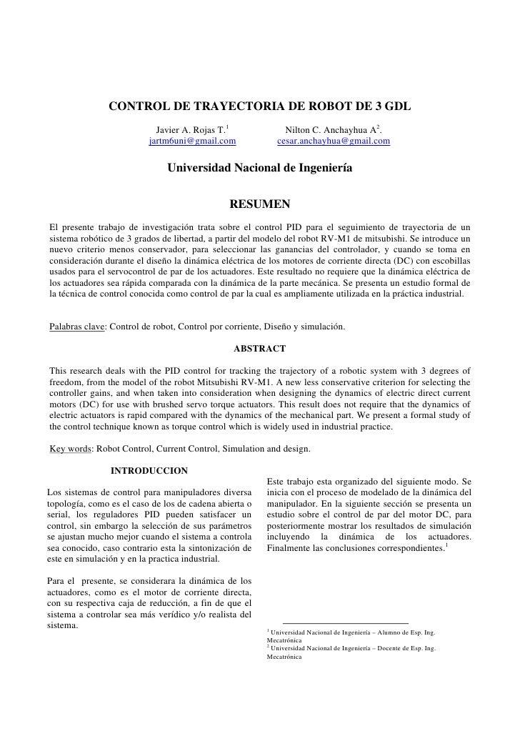 CONTROL DE TRAYECTORIA DE ROBOT DE 3 GDL                             Javier A. Rojas T.1              Nilton C. Anchayhua ...