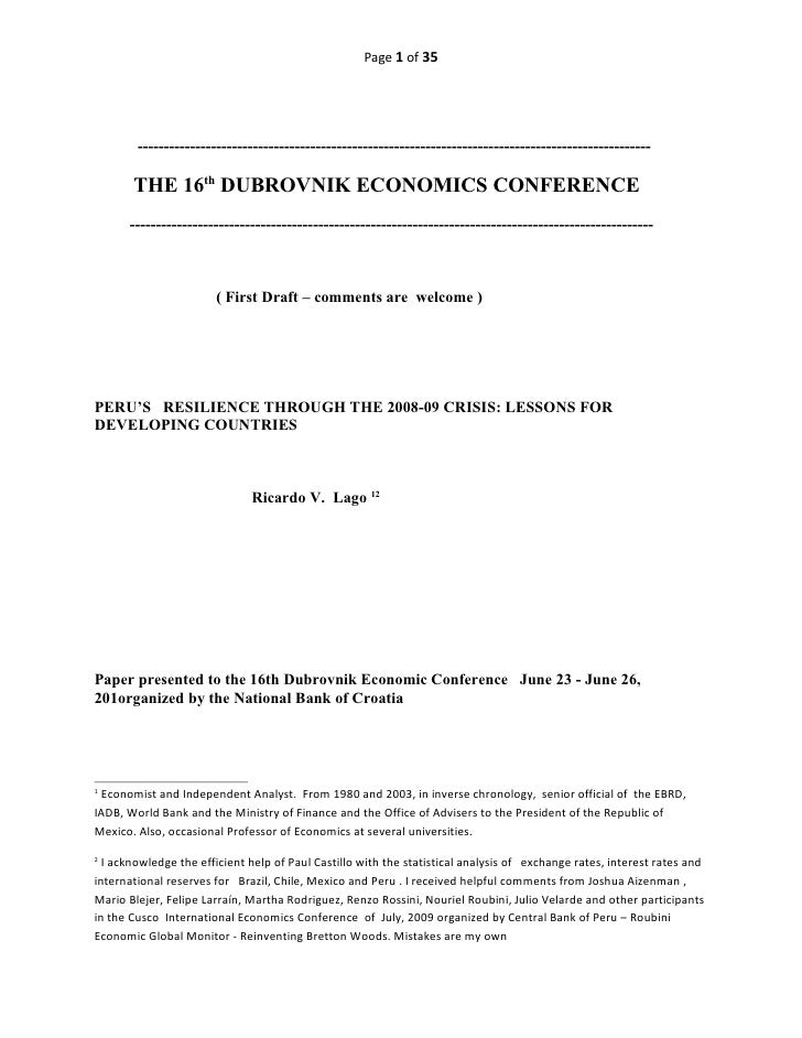 PERU'S   RESILIENCE THROUGH THE 2008-09 CRISIS: LESSONS FOR DEVELOPING COUNTRIES