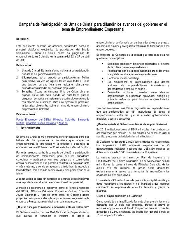 Campaña de Participación de Urna de Cristal para difundir los avances del gobierno en el tema de Emprendimiento Empresarial