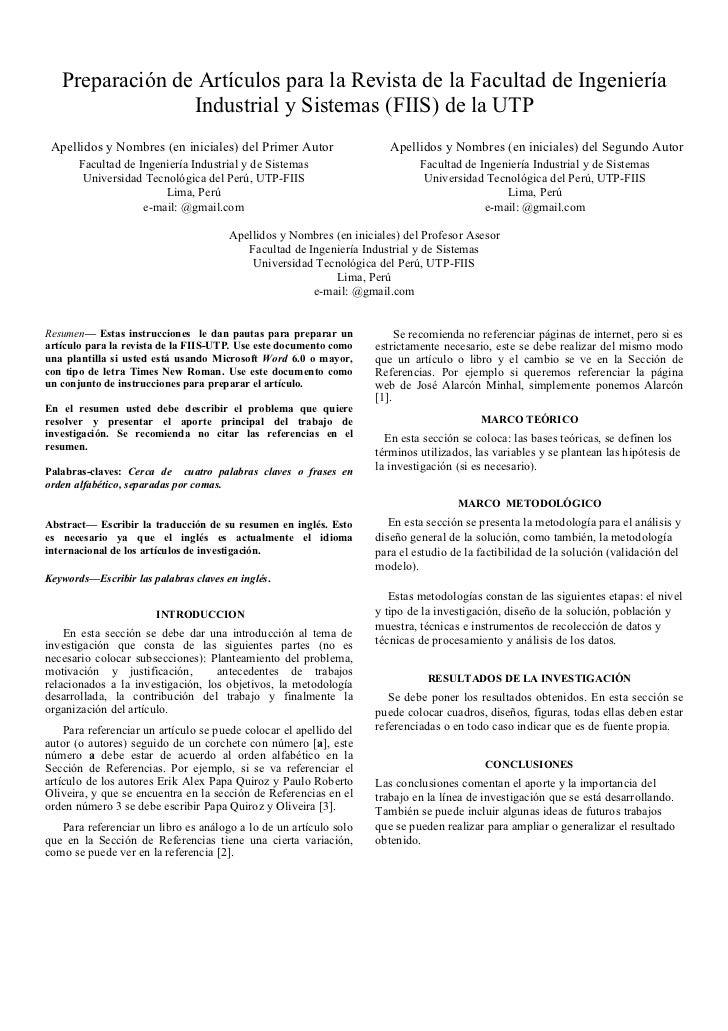 Preparación de Artículos para la Revista de la Facultad de Ingeniería                 Industrial y Sistemas (FIIS) de la U...