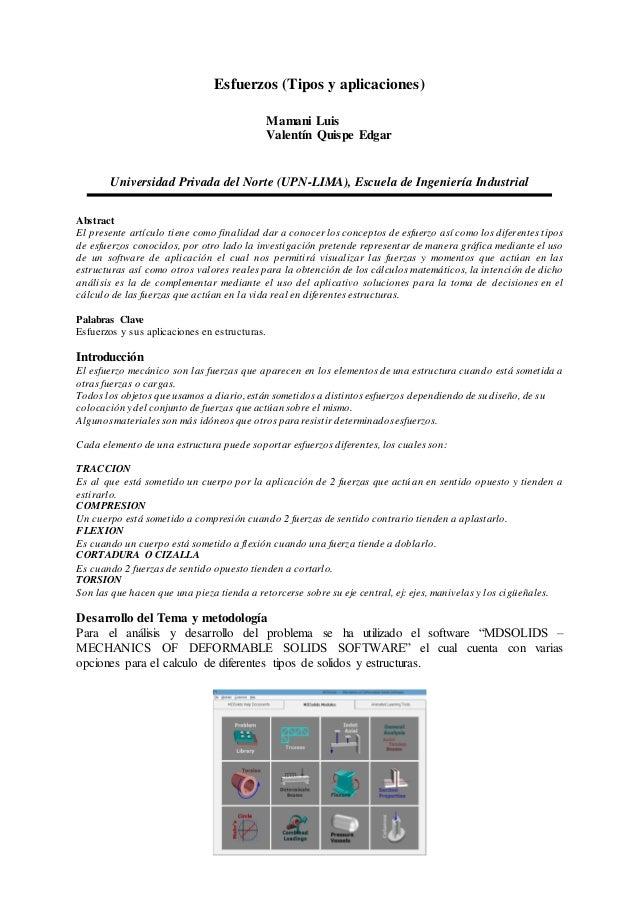 Esfuerzos (Tipos y aplicaciones) Mamani Luis Valentín Quispe Edgar Universidad Privada del Norte (UPN-LIMA), Escuela de In...