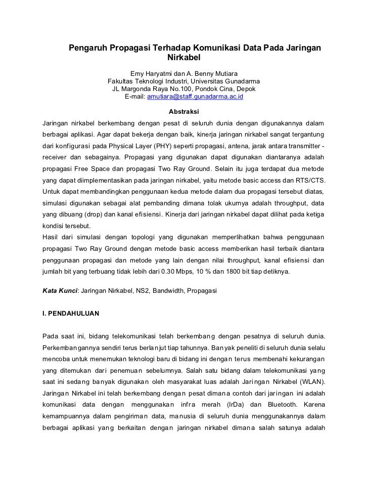 Pengaruh Propagasi Terhadap Komunikasi Data Pada Jaringan                               Nirkabel                          ...