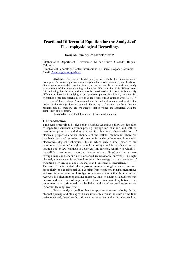 Fractional Differential Equation for the Analysis of              Electrophysiological Recordings                     Darí...