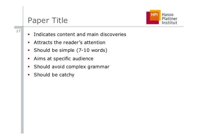 Interesting science paper topics?