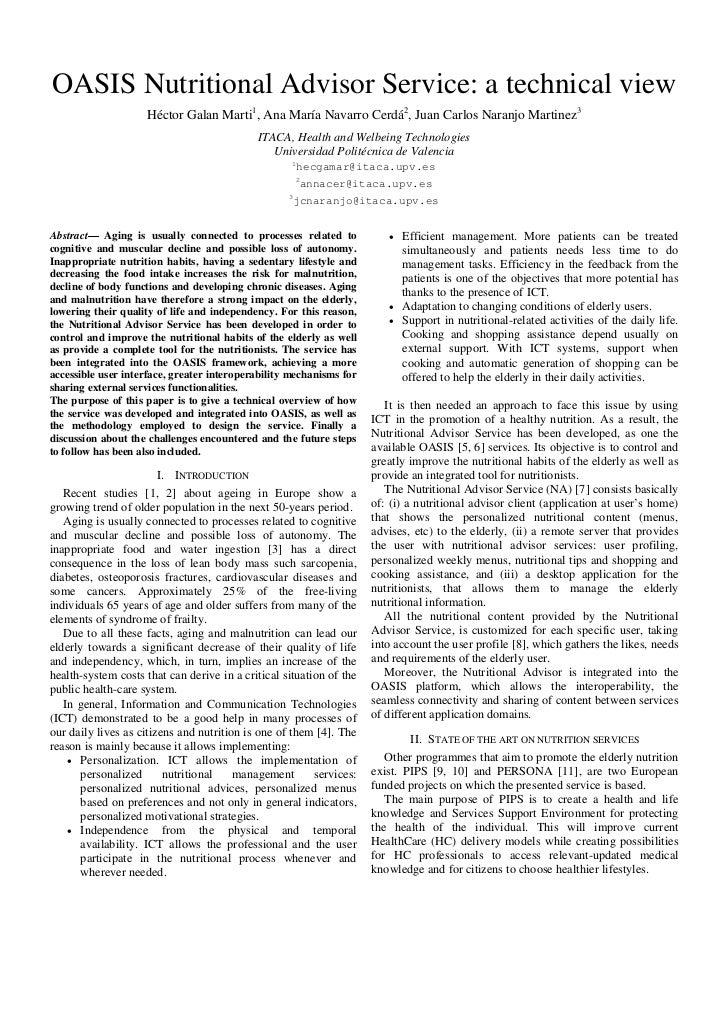 OASIS Nutritional Advisor Service: a technical view                    Héctor Galan Marti1, Ana María Navarro Cerdá2, Juan...