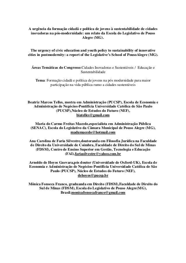 A urgência da formação cidadã e política de jovens à sustentabilidade de cidades inovadoras na pós-modernidade: um relato ...