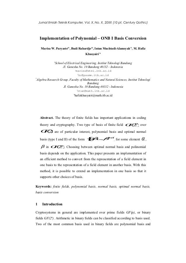 Jurnal Ilmiah Teknik Komputer, Vol. X, No. X, 20XX (10 pt, Century Gothic)    Implementation of Polynomial – ONB I Basis C...