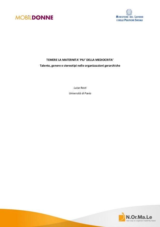 """""""Stereotipi e maternità"""" - Paper della Prof.ssa Luisa Rosti - Università di Pavia"""