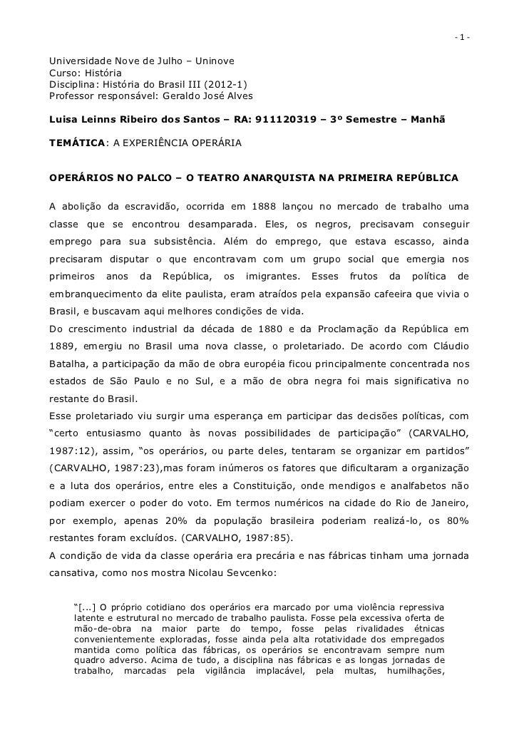 EXPERIÊNCIA OPERÁRIAOPERÁRIOS NO PALCO – O TEATRO ANARQUISTA NA PRIMEIRA REPÚBLICA