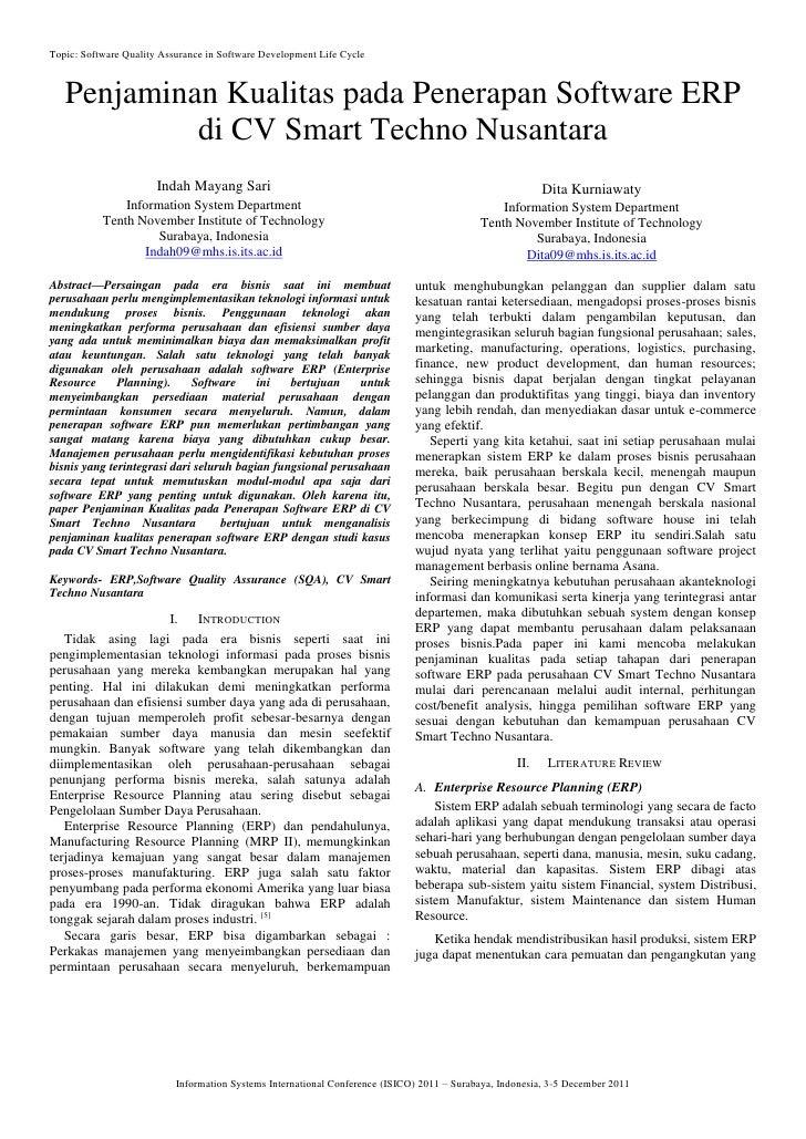 Topic: Software Quality Assurance in Software Development Life Cycle   Penjaminan Kualitas pada Penerapan Software ERP    ...