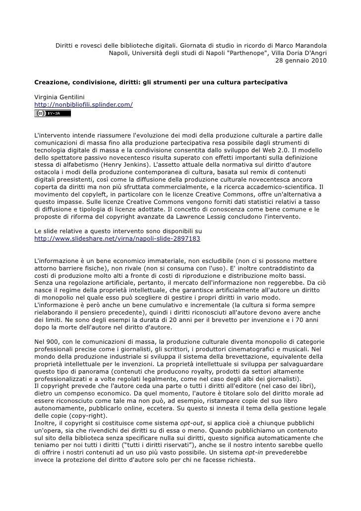 Diritti e rovesci delle biblioteche digitali. Giornata di studio in ricordo di Marco Marandola                           N...