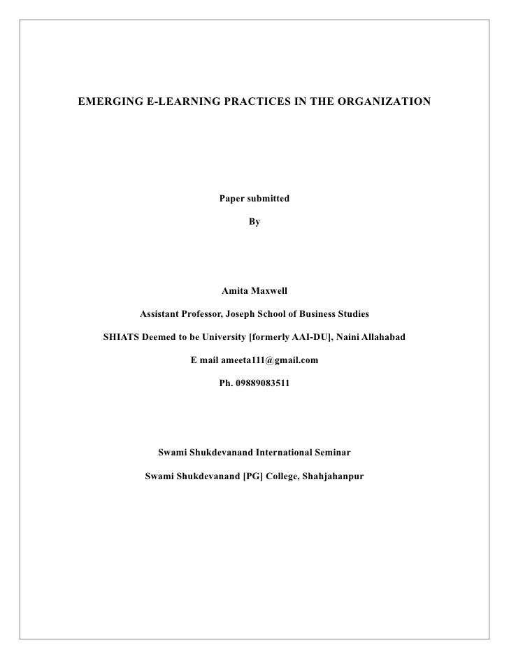 EMERGING E-LEARNING PRACTICES IN THE ORGANIZATION                            Paper submitted                              ...